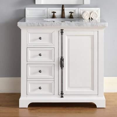 Belhaven 36 Single Cottage White Bathroom Vanity Set Top Thickness: 4cm
