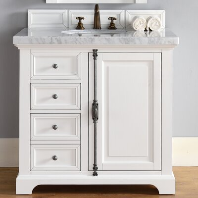 Belhaven 36 Single Cottage White Stone Top Bathroom Vanity Set Top Thickness: 4cm