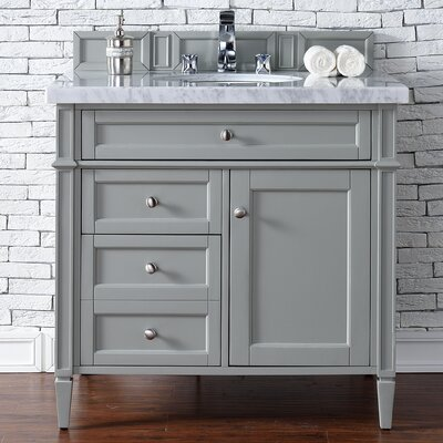 Deleon 36 Single Urban Gray Granite Top Bathroom Vanity Set Top Thickness: 4cm