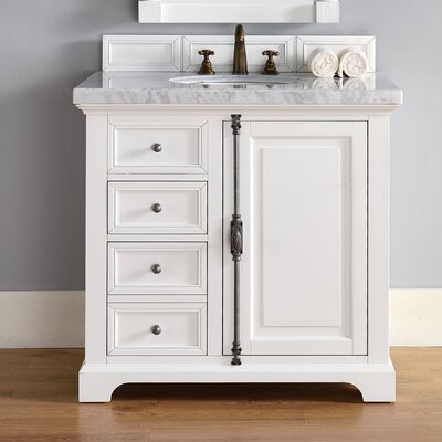Deleon 48 Single Cottage White Granite Top Bathroom Vanity Set Top Thickness: 4cm