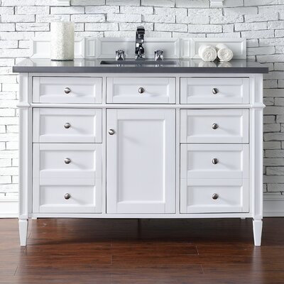 Deleon Traditional 48 Single Cottage White Bathroom Vanity Set Top Thickness: 4cm
