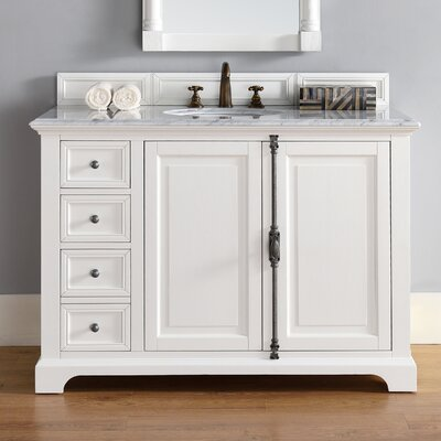 Belhaven Traditional 48 Single Cottage White Bathroom Vanity Set Top Thickness: 2cm