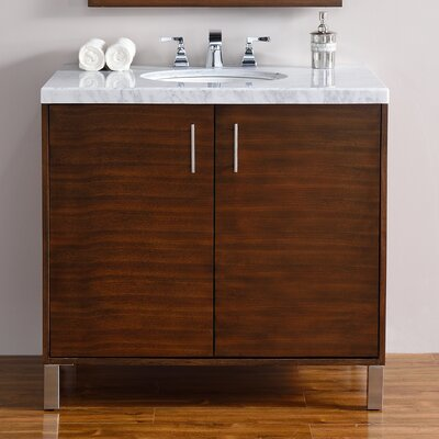 Cordie 36 Single Ceramic Sink American Walnut Bathroom Vanity Set