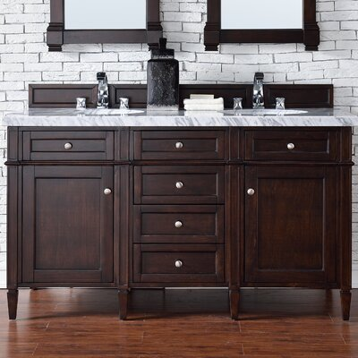 Deleon 60 Double Burnished Mahogany Wood Base Bathroom Vanity Set Top Thickness: 2cm