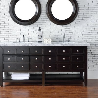Kramer 72 Double Cerused Espresso Oak Stone Top Bathroom Vanity Set