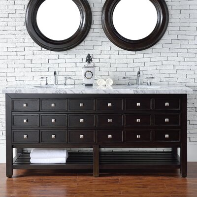 Kramer Traditional 72 Double Cerused Espresso Oak Stone Top Bathroom Vanity Set