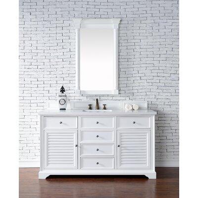 Belfield 60 Single Rectangular Sink Cottage White Bathroom Vanity Set Base Finish: Cottage White