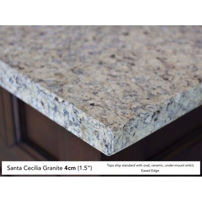 Coraima Traditional 36 Single Antique Oak Bathroom Vanity Set Top Finish: Santa Cecilia Granite Top