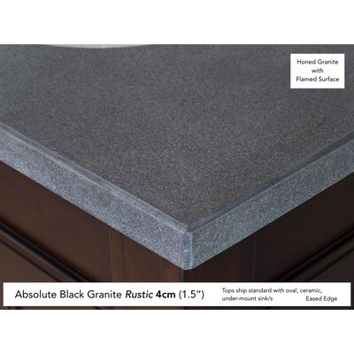 Avedon 36 Single Aged Cognac Bathroom Vanity Set Top Finish: Absolute Black Rustic Granite Top