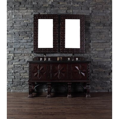 Avebury 60 Double Antique Walnut Bathroom Vanity Set Top Finish: Absolute Black Rustic Granite Top
