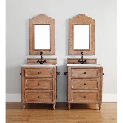 Berlin 26 Single Driftwood Patina Bathroom Vanity Top Finish: Galala Beige Marble Top