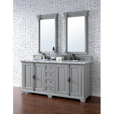 Belhaven 72 Double Cottage White Bathroom Vanity Set Base Finish: Cottage White