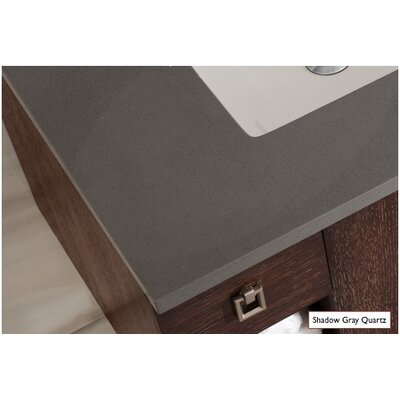 Belhaven 72 Double Driftwood Bathroom Vanity Set Top Finish: Shadow Gray Quartz, Top Thickness: 3cm