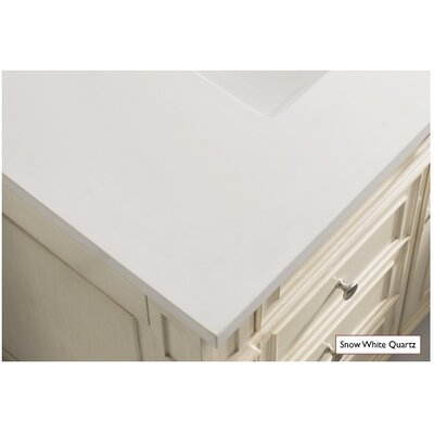 Belhaven 60 Single Driftwood Bathroom Vanity Set Top Finish: Snow White Quartz, Top Thickness: 3cm