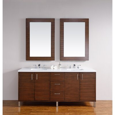 Cordie 72 Double American Walnut Wood Base Bathroom Vanity Set Base Finish: American Walnut