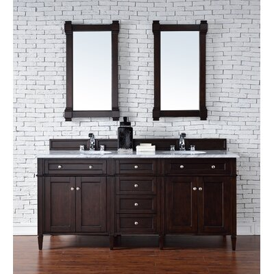 Deleon 72 Double Burnished Mahogany Bathroom Vanity Set Top Thickness: 2cm