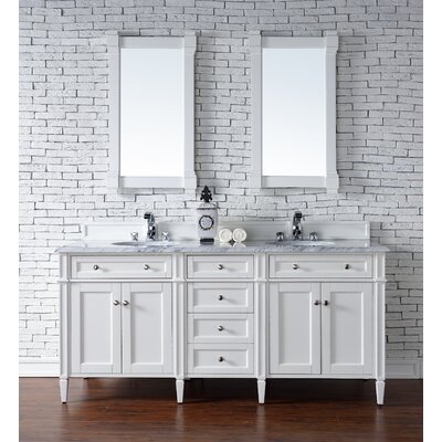 Deleon Traditional 72 Double Cottage White Wood Base Bathroom Vanity Set Top Thickness: 2cm