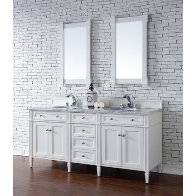 Deleon 72 Double Cottage White Wood Base Bathroom Vanity Set