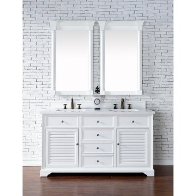 Belfield 60 Double Rectangular Sink Cottage White Bathroom Vanity Set Base Finish: Cottage White