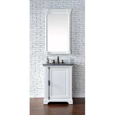 Belhaven Traditional 26 Single Cottage White Bathroom Vanity Set Base Finish: Driftwood, Top Finish: Arctic Fall Solid Surface, Top Thickness: 3cm