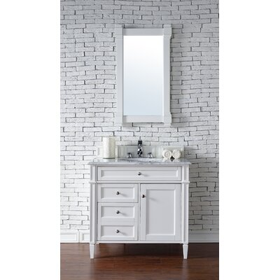Deleon 36 Single Cottage White Wood Base Bathroom Vanity Set Top Thickness: 4cm