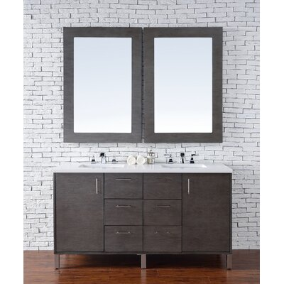Cordie 60 Double American Walnut Bathroom Vanity Set Base Finish: Silver Oak