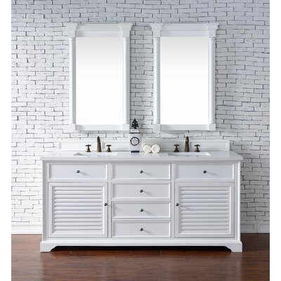 Savannah 72 Double Cottage White Bathroom Vanity Set Top Thickness: 2cm