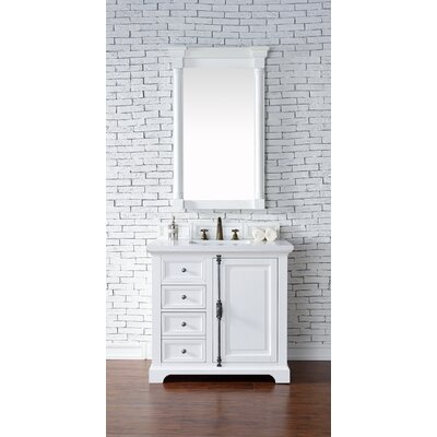 Belhaven 36 Single Cottage White Stone Top Bathroom Vanity Set Top Thickness: 2cm