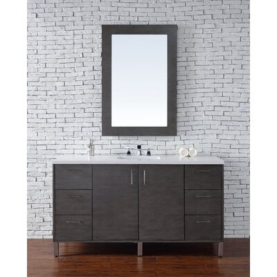 Cordie 60 Single American Walnut Bathroom Vanity Set Base Finish: Silver Oak
