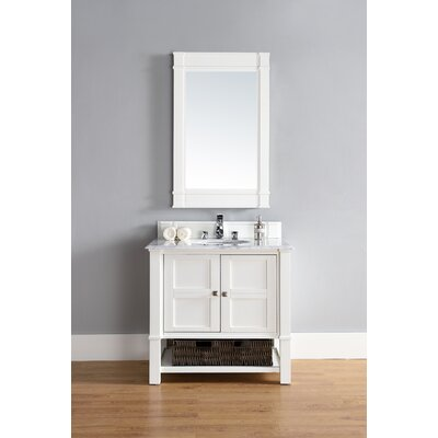 Westminster Traditional 36 Single Cottage White Bathroom Vanity Set Base Finish: Dove Gray, Top Finish: Carrara White Marble, Top Thickness: 4cm