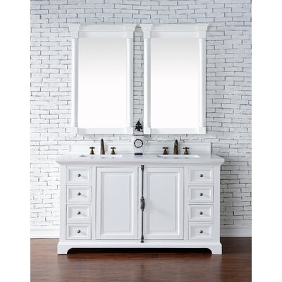 Belhaven 60 Double Rectangular Sink Cottage White Bathroom Vanity Set Base Finish: Cottage White
