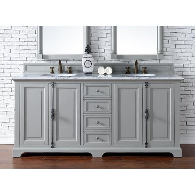 Providence 72 Double Urban Gray Bathroom Vanity Set Top Thickness: 2cm