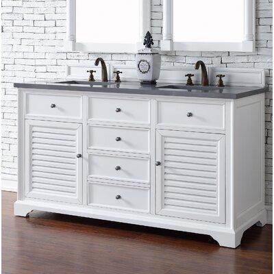 Savannah 60 Double Bathroom Vanity Base Base Finish: Cottage White