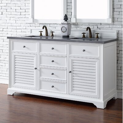 Savannah 60 Double Cottage White Bathroom Vanity Set Top Thickness: 2cm