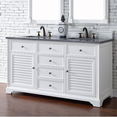 Belfield 60 Double Undermount Sink Cottage White Bathroom Vanity Set Top Thickness: 2cm