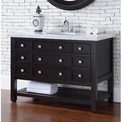 Vancouver 48 Single Cerused Espresso Oak Bathroom Vanity Set