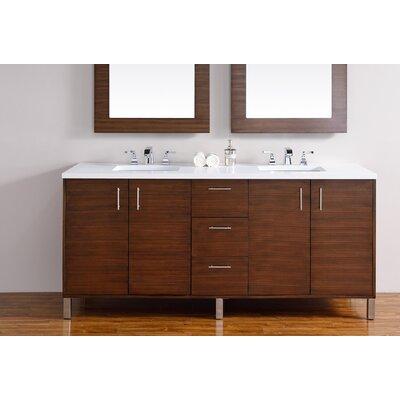 Cordie 72 Double American Walnut Birch Base Bathroom Vanity Set