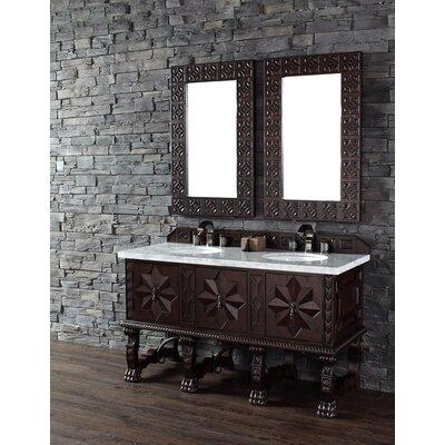Balmoral 60 Double Antique Walnut Bathroom Vanity Set Top Finish: Carrera White Marble Top