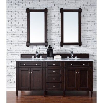Deleon Traditional 72 Double Burnished Mahogany Stone Top Bathroom Vanity Set Top Thickness: 2cm