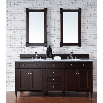 Deleon Traditional 72 Double Burnished Mahogany Stone Top Bathroom Vanity Set Top Thickness: 4cm