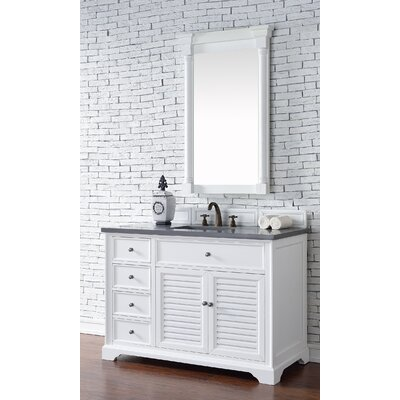 Belfield 48 Single Ceramic Sink Cottage White Bathroom Vanity Set Top Thickness: 2cm