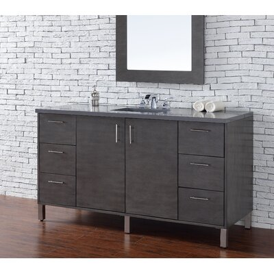 Metropolitan 60 Single Silver Oak Bathroom Vanity Set