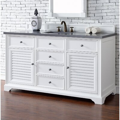 Savannah 60 Single Cottage White Bathroom Vanity Set Top Thickness: 2cm