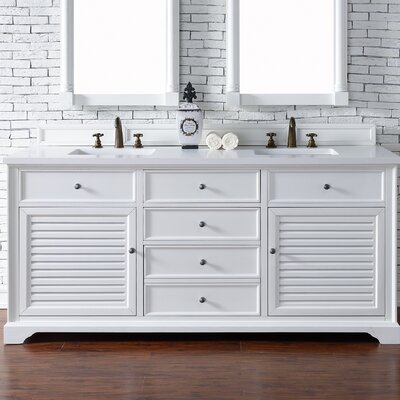 Belfield 72 Double Ceramic Sink Cottage White Bathroom Vanity Set