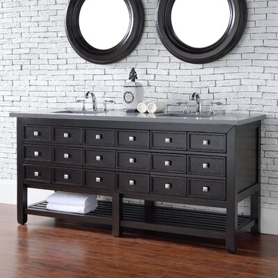 Kramer Traditional 72 Double Cerused Espresso Oak Bathroom Vanity Set