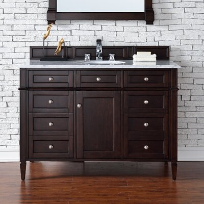 Brittany 48 Single Burnished Mahogany Bathroom Vanity Set Top Thickness: 2cm
