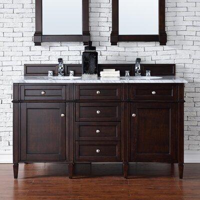 Brittany 60 Double Bathroom Vanity Base Base Finish: Burnished Mahogany