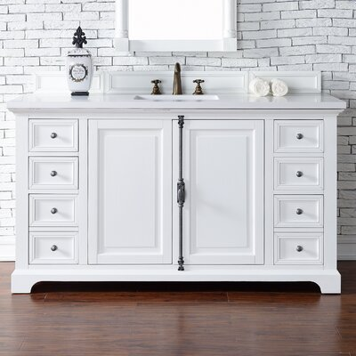 Belhaven 60 Single Cottage White Wood Base Bathroom Vanity Set