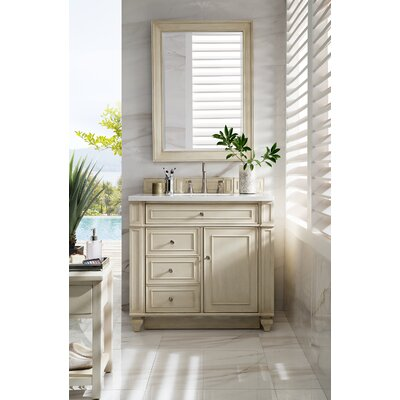 Lambrecht 36 Single Bathroom Vanity Set Base Finish: Vintage Vanilla, Top Finish: Carrara White Marble, Top Thickness: 4cm