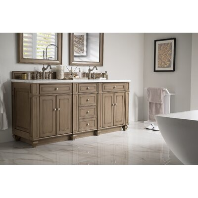 Torrey 72 Double Bathroom Vanity Set Base Finish: White Washed Walnut, Top Finish: Santa Cecilia Granite, Top Thickness: 4cm